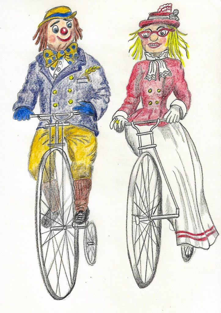 Sketch of Bramhall and Woodford Rotary scarecrows Billy Bow and Bella on penny farthing bikes
